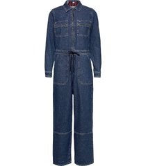 regular zip boiler suit pmmbrg jumpsuit blauw tommy jeans