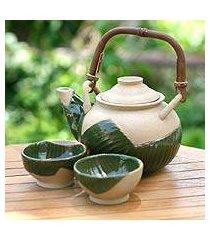 ceramic tea set, 'tropical spark' (set for 2) (indonesia)