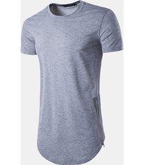 maglietta casual a manica corta con scollo tinta unita in tinta unita con cerniera laterale da uomo