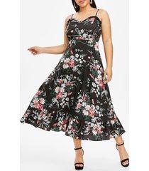 plus size flower print frilled flounce cami dress