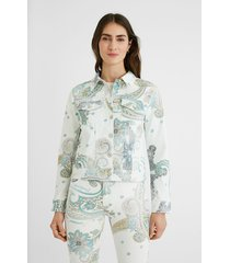 slim paisley jean jacket - white - 46