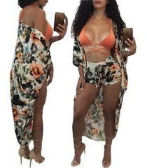 blusa estampada, pantalones cortos, traje de baño de playa de dos piezas 8148