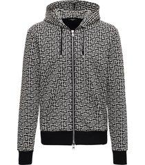 balmain monogram cotton hoodie