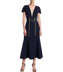 wool-blend draped chain trumpet dress