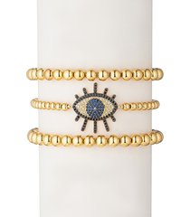 eye candy la women's luxe sunset eye 3-piece 18k goldplated beaded bracelet set
