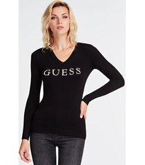 sweter z logo i strasowymi aplikacjami