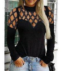 camiseta negra de manga larga con diamantes de imitación de cuello falso