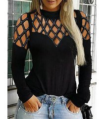 negro mock cuello camiseta de manga larga con diamantes de imitación