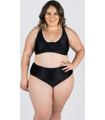 biquíni meeloo plus size hot pants franzida e sutiã básico preto
