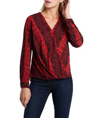 women's vince camuto snake charm wrap front blouse