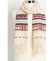 maurices womens cream multi print oblong scarf beige