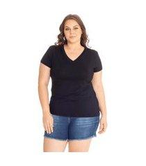 blusa t-shirts plus size decote v lisa. preto