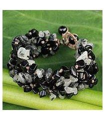 onyx and tourmalinated quartz beaded bracelet, 'black glam' (thailand)