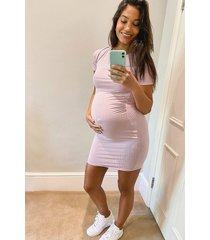 maternity basic rib bodycon dress, lilac