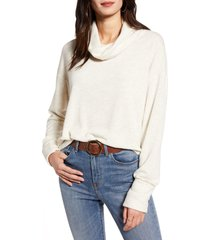 women's treasure & bond cowl neck pullover, size x-large - beige