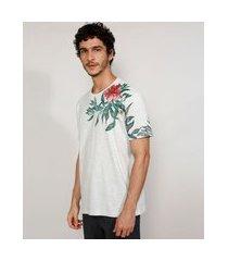 camiseta masculina manga curta gola careca com estampa floral cinza mescla claro