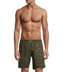 boss hugo boss men's orca logo swim shorts - dark green - size s