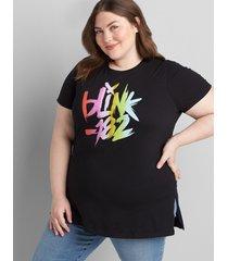 lane bryant women's blink 182 graphic t-shirt tunic 14/16 black