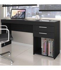 mesa para escritório office 2 gavetas preto - notavel