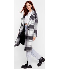 womens sorry just in a brushed oversized check coat - black