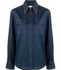 lemaire zip-up denim shirt - blue