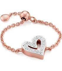 rose gold alphabet heart adjustable friendship diamond ring diamond