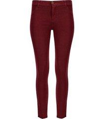 pantalón mujer dril desflecado vino color vino, talla 12