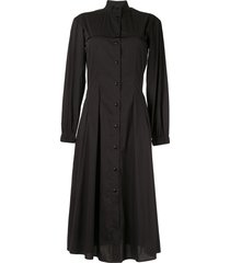 roberts wood midi shirt dress - black
