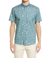 men's billy reid boardwalk standard fit short sleeve button-down shirt, size large - blue