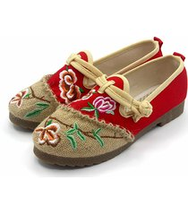ricamo chineseknot fiore match color slip on national wind pattini flat