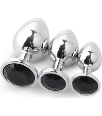 3pcs redondo convencional plug anal grandes medianas y pequeñas con traje negro de diamantes