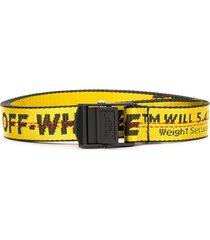 off-white logo print belt - yellow