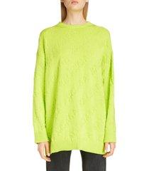 women's balenciaga tonal logo jacquard cotton sweater, size large - green