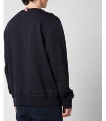 thom browne men's embroidered crest patch boat neck sweatshirt - navy - 4/xl