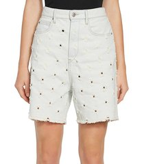 liny perforated denim cut-off shorts