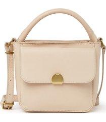 madewell the mini abroad leather crossbody bag - beige