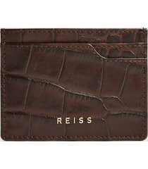 reiss cabot - leather card holder in chocolate, mens