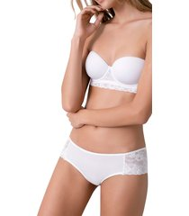 panty en encaje y lycra con sesgo en cintura y pierna ref 1221o92l off white options intimate