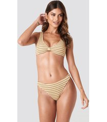 na-kd swimwear smocked striped bikini panty - beige