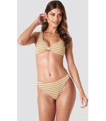 na-kd swimwear smocked striped bikini panty - beige