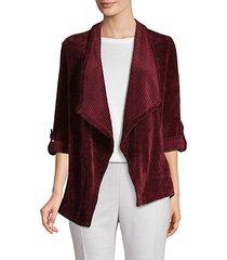 ribbed velvet open-front jacket