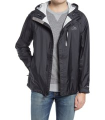 men's l.l.bean men's trail model water repellent rain jacket, size xx-large - black