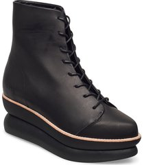 503g lace-up black leather shoes boots ankle boots ankle boot - flat svart gram