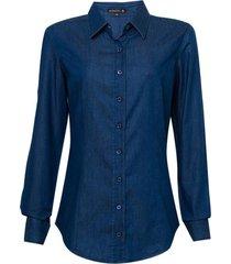 camisa dudalina manga longa jeans ajustada feminina (jeans medio, 46)