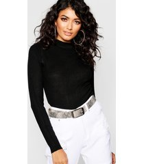ribbed turtleneck sweater, black