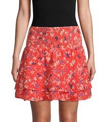 floral smock-waist mini skirt