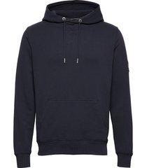 monogram sleeve badg hoodie blå calvin klein jeans
