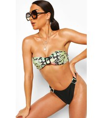 abstract animal buckle high leg bandeau bikini