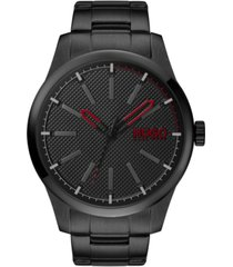 hugo men's #invent black stainless steel bracelet watch 46mm