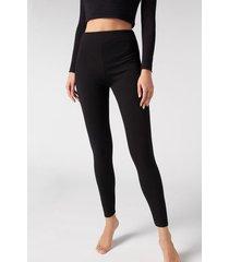 calzedonia thermal leggings woman black size xl